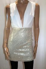 SHOWPO Brand White Gold Sequins Low Neck Party Dress Size 12 BNWT #SL114
