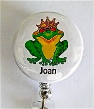 QUEENIE FROG ID Badge retractable reel NURSE,TEACHER,STUDENT,AIRLINES,RN,ER,