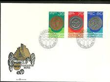 BUSTA 1977  LIECHTENSTEIN FDC  3 VALORI MONETE E MEDAGLIE COINS