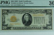 1928 $20 Dollar Gold Certificate PMG Very Fine 30 Fr #2402