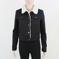 Asos Womens Size 8 Zip Up Black Padded Short Crop Cotton Jacket