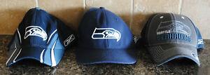 Lot of 3 Reebok NFL Seattle Seahawks Hats