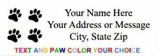 "30 Pieces Paw Prints Return Address labels  1"" x 2.625"" - Free USA Shipping"