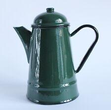 Vintage Green Enamel Enamelware Coffee Pot Dark Green made by Silesia Poland