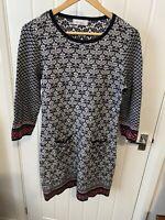 Per Una Weekend Navy Blue Knitted Wool Blend Jumper Dress 12 Fair Isle Style