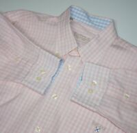 Men's BARBOUR Casual Long Sleeve Chequered Check Shirt Pink Size L Large