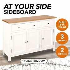 vidaXL Solid Oak Wood Sideboard 110x33.5x70cm Highboard Cabinet Furniture