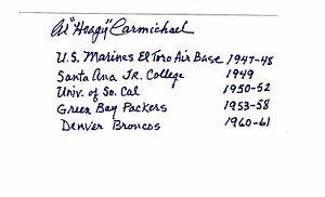 CHEAP1 AL CARMICHAEL GREEN BAY PACKERS DENVER BRONCOS AUTOGRAPHED INDEX CARD