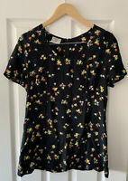 "VINTAGE LAURA ASHLEY BLACK FLORAL TEA BLOUSE TOP 18"" CHEST"
