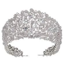 Stunning Copper Cubic Zirconia Crown Wedding Tiara CZ Bridal Hair Accessories