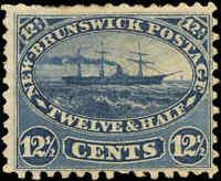 Mint H Canada New Brunswick 1860 12-1/2c F Scott #10 Steamship Stamp