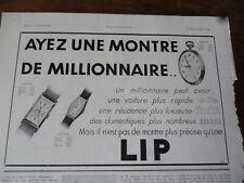 LIP montre 31 publicité papier ILLUSTRATION 1931