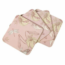 Set of 4 Square Cork Coasters Drinks Mats Pink Vintage Floral Shabby Chic Table