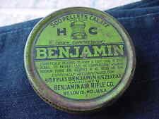 Vintage Benjamin .177 Caliber Air Rifle Pistol Pellets Tin Sign Screw On Lid 500