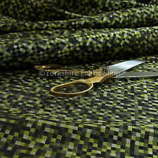 Light Small Checked Square Pattern Design Upholstery Fabric Green Black Grey
