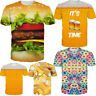 Men 3D Hamburger Food Printing T-Shirts Casual Crew Neck Short Sleeves Tops Tees