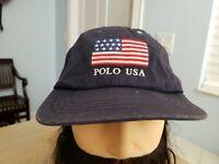 Polo USA Ralph Lauren Big American Flag Hat Strapback Vintage Blue Cap Stadium