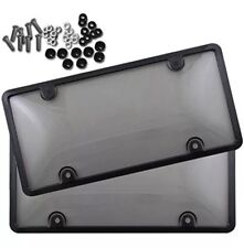 2x Clear Tinted Smoked Bubble License Plate Tag Shield Cover and Frame Auto