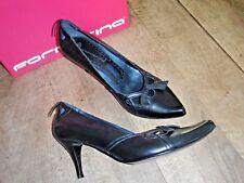 FORNARINA zapatos de salón piel negro NUEVOS Tacón 7cm Valorada en 135E Talla 40