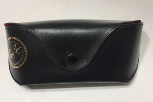 Ray-Ban Folding Button Faux Leather Black With Red Interior Sunglasses Case