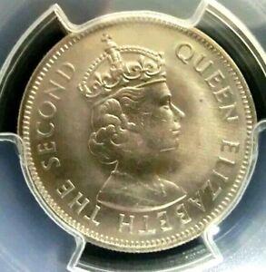 PCGS MS66 Gold Shield-Seychelles 1972 Elizabeth II 1/2 Rupee Super GEMBU Scarce