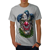 Wellcoda Evil Monster Clown Mens T-shirt, Scary Graphic Design Printed Tee