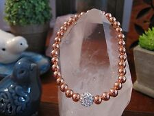 """New 8"""" Shimmer Rustic White Crystal Focal & Rose Gold Tone Beaded Cuff Bracelet"""