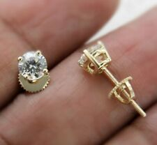 1 Ct Round Cut Moissanite Screw Back Solitaire Stud Earrings 14K Yellow Gold Fn