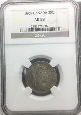 Canada 1909  25 Cents   NGC AU 58 Near Mint State Edward VII Silver Quarter