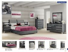 Esf Elite Contemporary Grey Birch Lacquer Finish King Size Bedroom Set 5 Pieces
