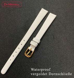 10 MM Genuine Leather Watch Strap Di-Modell White With Gold Plated Pin Buckle