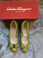 Salvatore Ferragamo Green Vara Calf Croc Crocodile Print Shoes UK 6 / 8.5 C