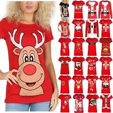 Ladies Womens Cap Sleeve Nose Red Xmas Reindeer Tee Gifts Top T Shirt Size 8-14