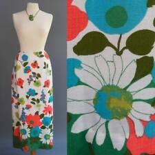 VTG 70s Mod Flower Power Linen Skirt Planet Earth in Daisy Print Op Art Graphic