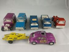 Tootsie Toy Vehicles Recuse Pickup, Bronco, VW Bugs, Trailer 7 Total, 1969-1970