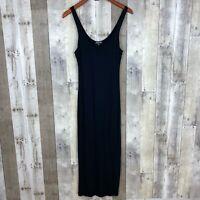 Fashion Nova Womens Size XL Knit Bodycon Midi Dress Black Sleeveless Scoop Neck