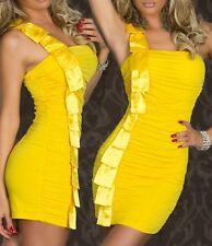 Sexy Miss señora 1 vigas mini vestido de satén Girly fiesta dress 34/36/38 amarillo nuevo