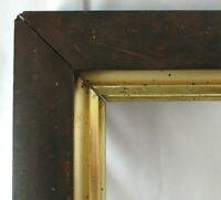 "BIG Fits 16.5"" X 28"" Mahogany Veneer GOLD GILT LINED FRAME FINE ART VICTORIAN"