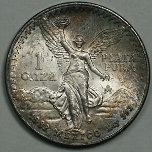 1982 MEXICO 1 ONE ONZA SILVER STRIKING CHOICE COLOR UNC BU GEM TONED (DR)