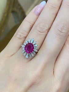 GIA Burma No Heat 3 cts Ruby Ballerina Diamond Ring in Platinum - HM2272R6