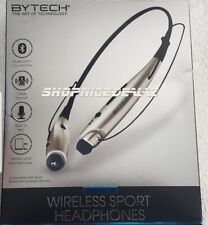 ByTech- Wireless Sport Bluetooth Earbud Neckband Black Headphones