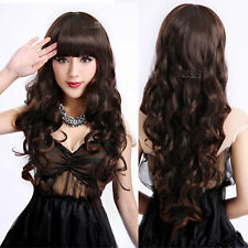 US Dark Brown Womens Lady Wave Curly Long Synthetic Wigs Party Bangs Full Wigs