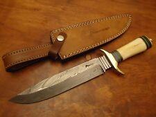 "Pioneer Damascus Steel Hunting Knife Brass Guard 13""Pt-1341"