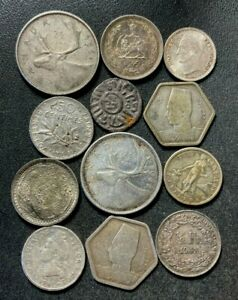 Vintage World Silver Coin Lot - 1800-1965 - 12 Silver Coins - Lot #L29