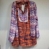 Liberty Love Women's Tunic Top Long Sleeve Blouse Split Neck Aztec Orange Sz 1XL