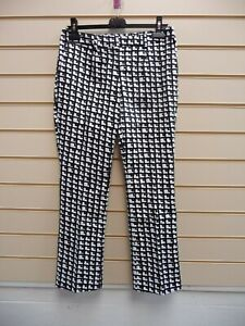 "Bodyflirt Women's Black White Trousers Size 10 Smart Crop Inside Leg 28""  G038"