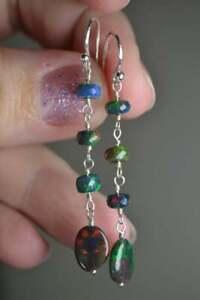 Black Ethiopian Opal Beads Earring Silver 925 Sterling Gemstone Women's Jewelry