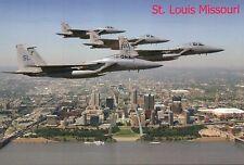 US Air Force Eaglefighters Over Gateway Arch St. Louis Missouri Stadium Postcard