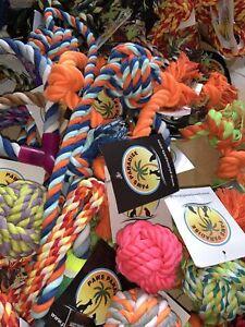 6 X Bundle Selection Job Lot  Colourful Ragger Rope Ball Tug Fetch Dog Toys