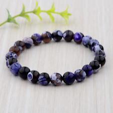 8mm Natural Stone Purple Round Beads Healing Balance Reiki Men's Bracelets Gift